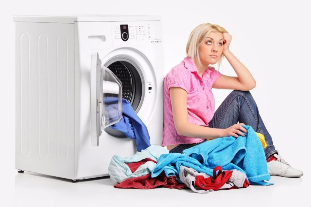 Woman sick of doing laundry