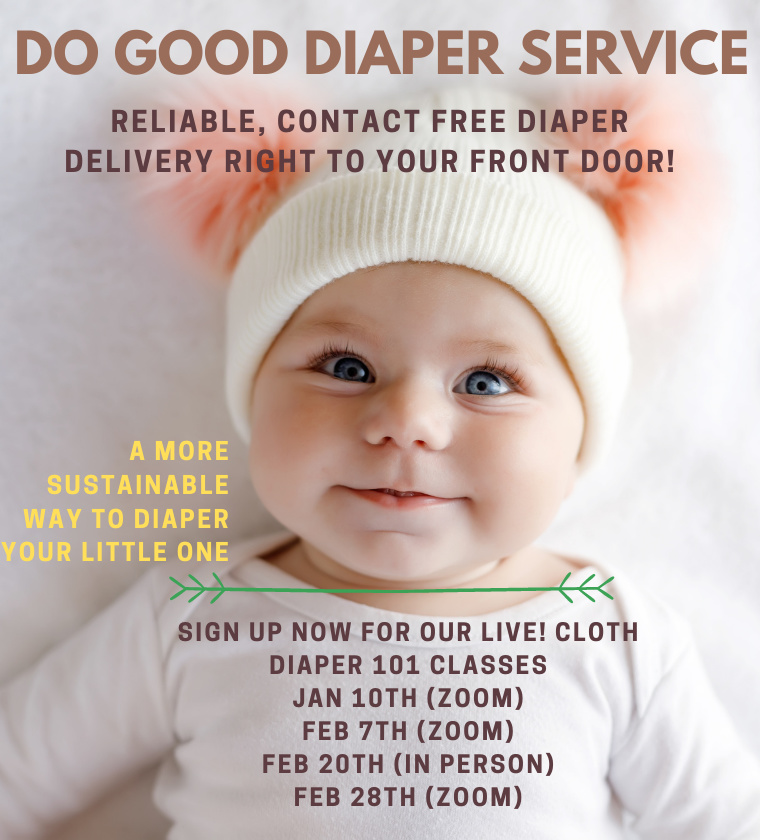 January and February informational slide Do Good Diapers